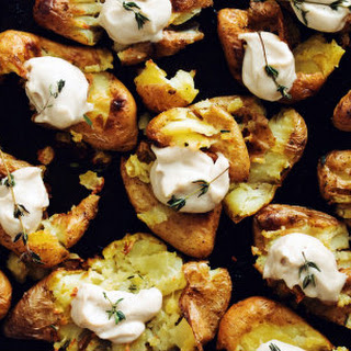 Smashed Potatoes with Roasted Garlic Cashew Butter