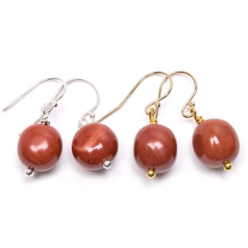 Röd jaspis, örhänge i silver eller guldplätering