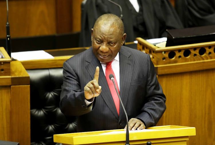 President Cyril Ramaphosa responds to the debate on his State of the Nation Address (Sona) in parliament in Cape Town on Thursday.