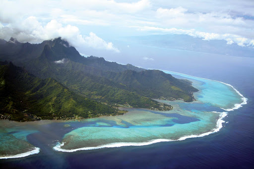 An aerial shot of Moorea, one of the three main islands in French Polynesia.