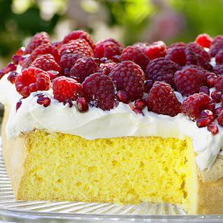 Raspberry and Pomegranate Sponge Cake.