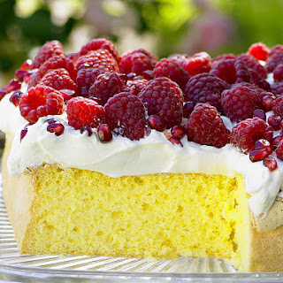Raspberry and Pomegranate Sponge Cake.