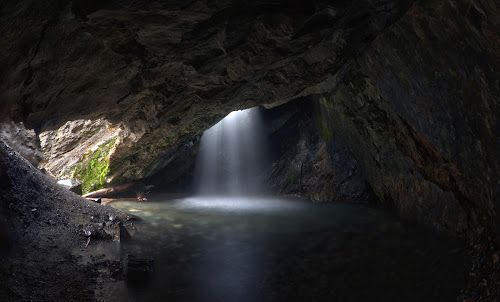 Donut Falls by Mark Richardson - Landscapes Caves & Formations ( light rays, cave, water fall, pond, donut falls, relax, tranquil, relaxing, tranquility )