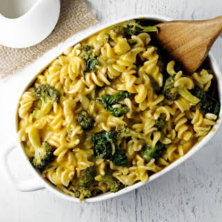 Creamy Butternut Squash Pasta with Broccoli and Kale.