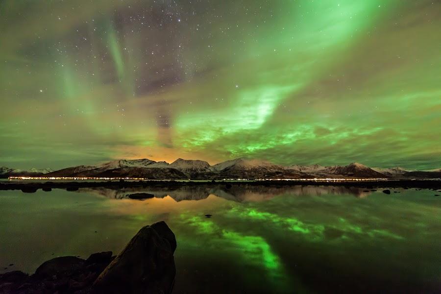 Green aurora by Benny Høynes - Landscapes Starscapes ( landscapes, waterscapes, nature, reflections, auroraborealis, visitvesterålen, andøya, auroras, colors, canon, visitnorway, norway, northernlights )
