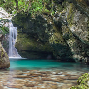 It runs smoothly. by Mark Per - Nature Up Close Water ( water, clear water, gorge, beautiful, slovenia, trees, rocks, trenta valley, river )