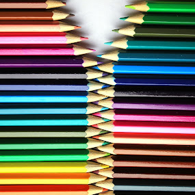 Opening Colored Pencils by Robert Hamm - Artistic Objects Other Objects ( abstract, pencil crayon, colored pencil, pattern, colorful, color, texture, background, pencil., shape, material,  )