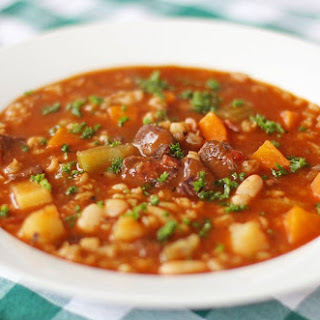 Gluten Free Beefy Barley Vegetable Soup