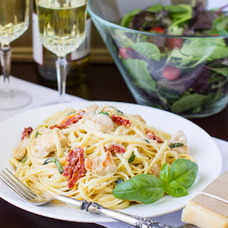 Sun-Dried Tomato and Basil Pasta with Chicken.