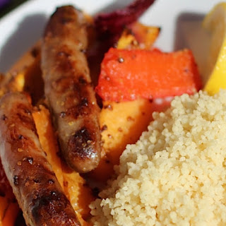 Maple-Glazed Sausage and Veg Traybake.