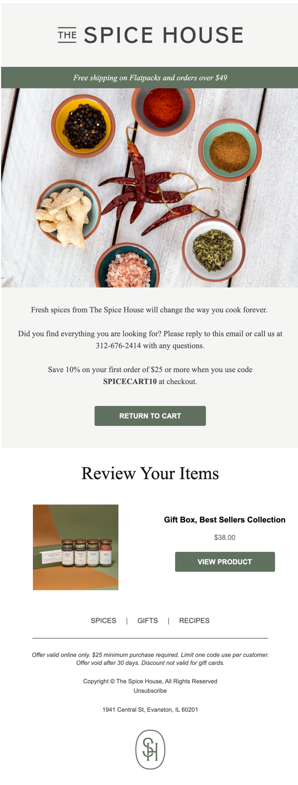 The Spice House cart abandonment email.