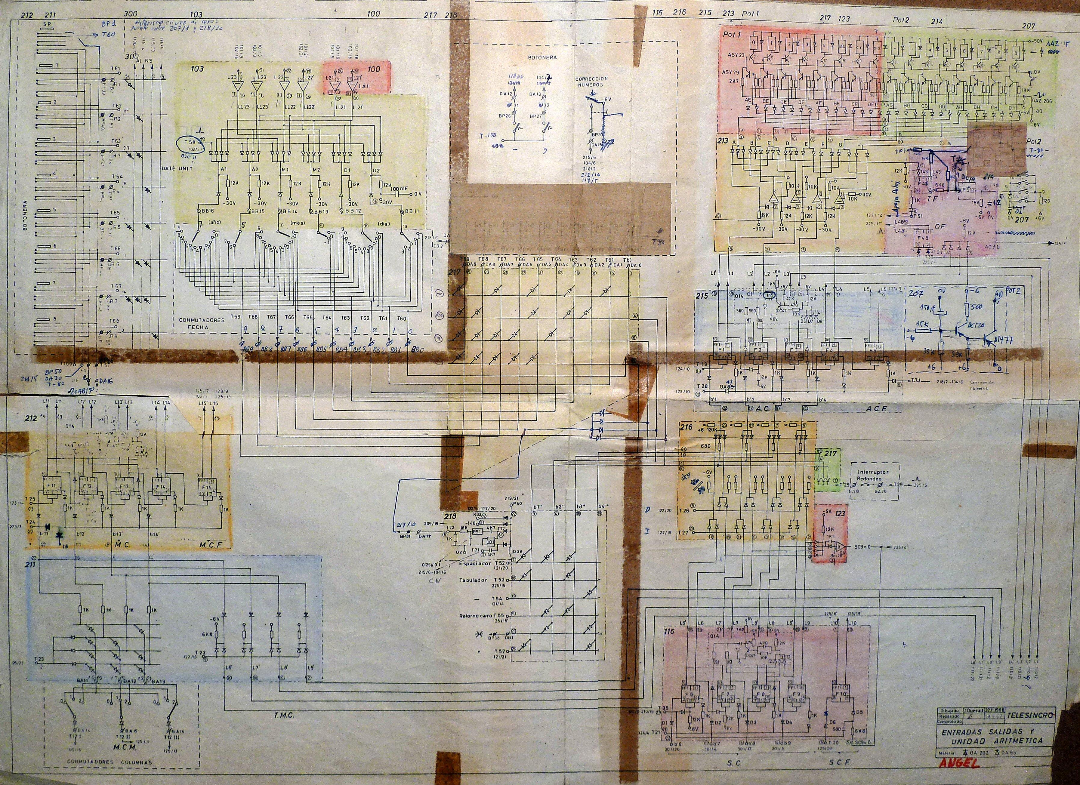 Photo: Unitat Aritmètica. Data 22-11-1966 Esquemes conservats per Marià Angel