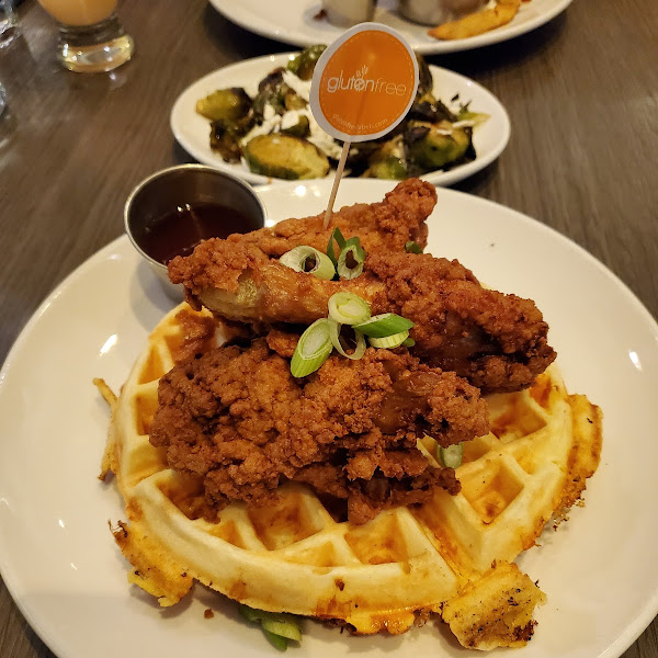 Fried chicken and Cheddar Waffle