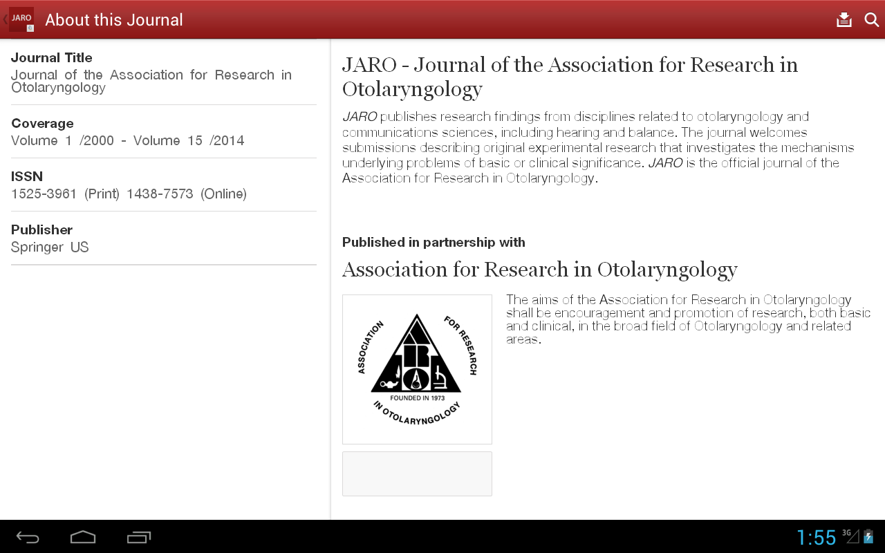 J Assn Research Otolaryngology- screenshot