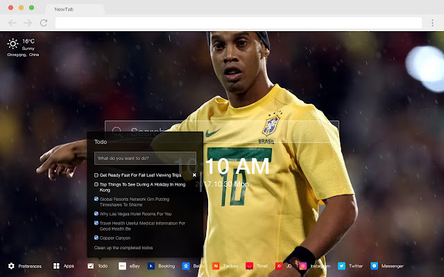 Ronaldinho HD Popular Football New Tabs Theme