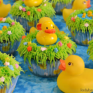 Rubber Duckie Pond Baby Shower Cupcakes.