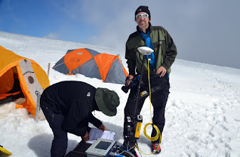 Photo: Jose goes through the GPR survey checklist to make sure all the equipment is set up properly while Rex prepares to video the research