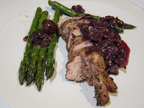 Photo: Big Green Egg Grilled Pork Loin with Cherry, Blueberry & Bacon Sauce.