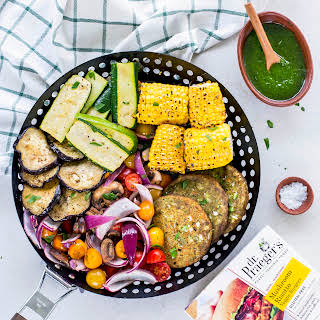 One Grill Basket Veggie Platter with Vegan Pesto Dressing.