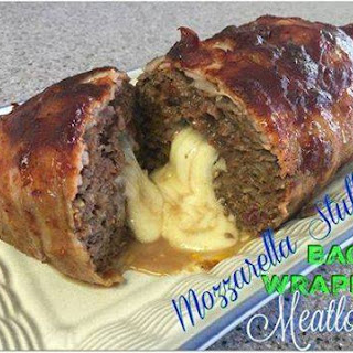 Mozzarella Stuffed Bacon Wrapped Meatloaf.