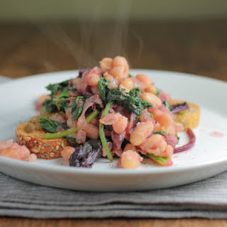 Wilted Greens With Caramelized Red Onion and Cannellini Beans