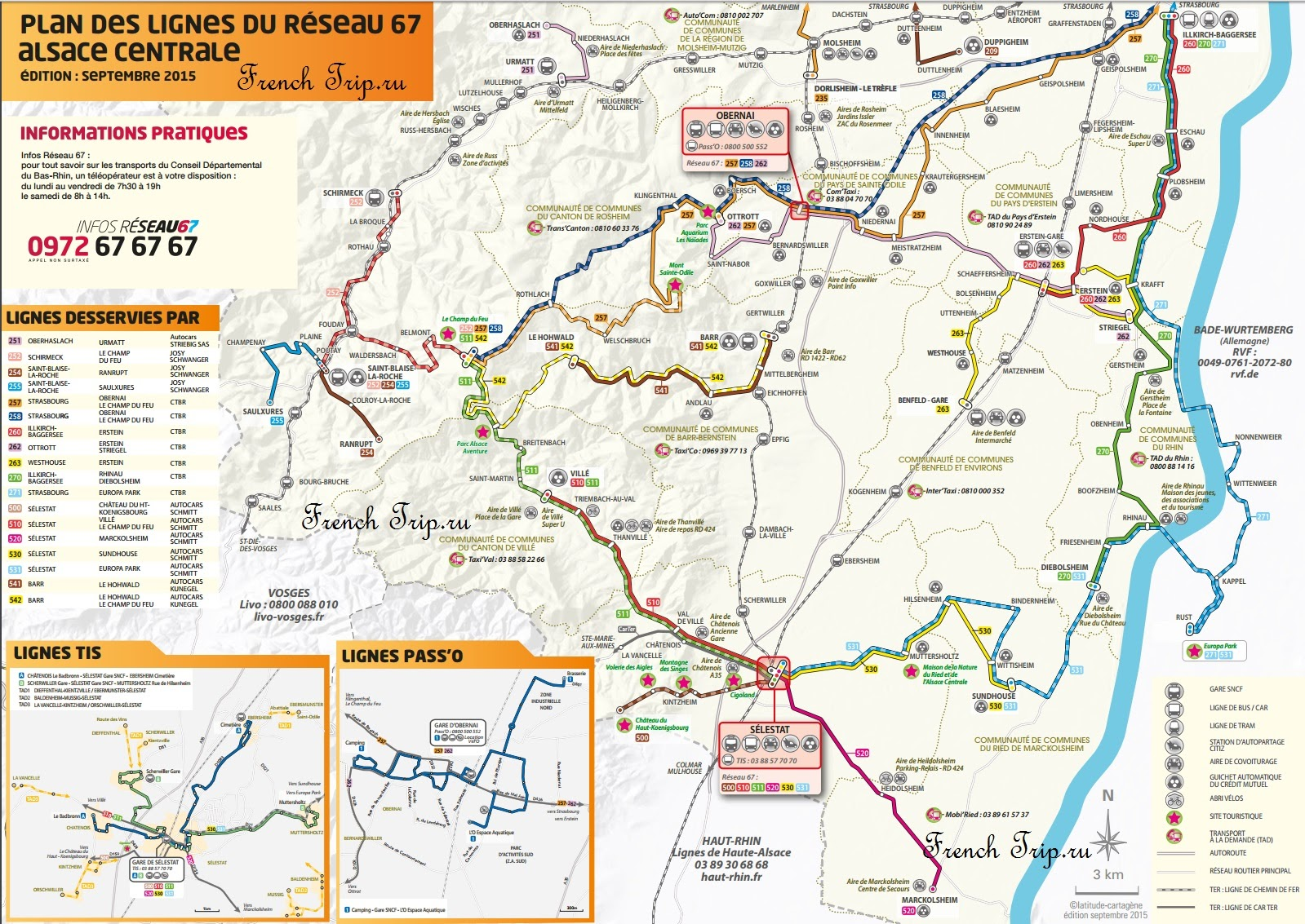 Схема маршрутов автобусов по центральному Эльзасу (Оберне, Селеста)