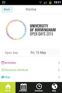 UoB Open Day Application - screenshot thumbnail