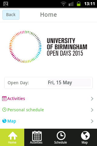 UoB Open Day Application- screenshot