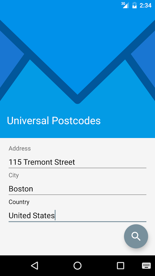 Universal Postcodes- screenshot