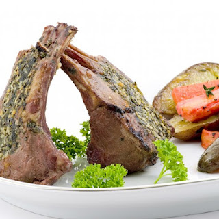 Rack Of Lamb With Mint Topping.