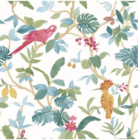 Christiana Masi Hashtag 11002 Tapet med bladverk och exotiska fåglar, Grön/Blå/Beige/Röd