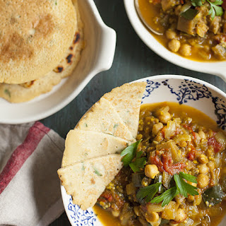 Eggplant, Tomato, and Chickpea Curry with Chickpea Rice Flatbread (Gluten Free).