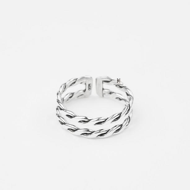 nhẫn bạc cao cấp 925 xoắn đôi