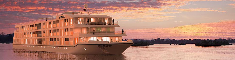 A look at Scenic Spirit at sunset. The new luxury river ship sails the Mekong River.