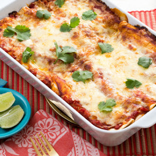 Zucchini & Yellow Squash Enchiladas with Salsa Roja & Monterey Jack Cheese