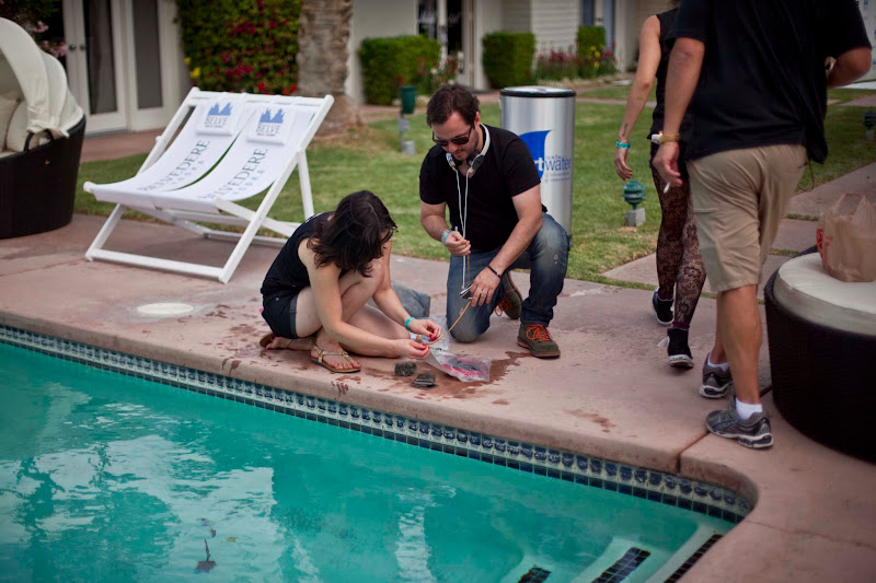 Photo: Seth and Becky get ready to throw headphones in the pool