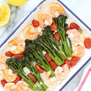 Sheet Pan Shrimp with Broccolini and Tomatoes.