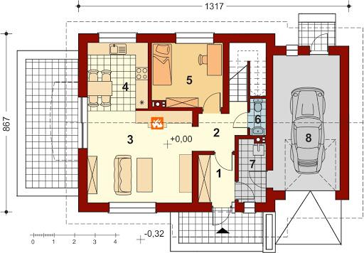 Pinczer 6 z garażem - Rzut parteru