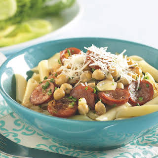 Penne with Chorizo and Chickpeas.