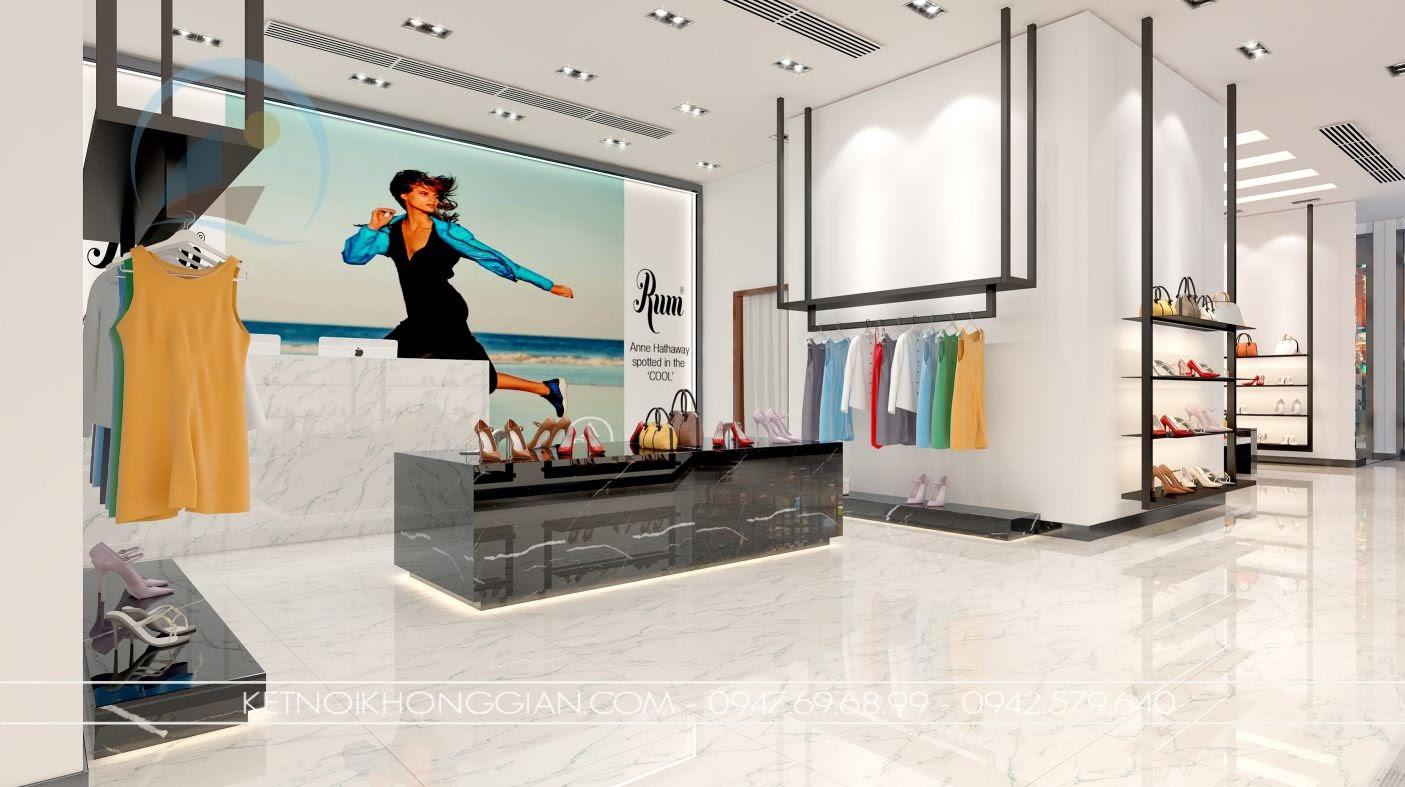 thiết kế cửa hàng giày dép hiện đại