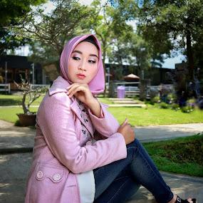 Graceful with hijab by Mardi Tri Junaedi - People Portraits of Women ( #modernhijab, #garden, #graceful, #beautiful, #hijab,  )