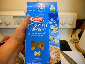 Photo: added half a package of mini bow tie (mini farfalle) noodles. cover and simmer until noodles are tender.