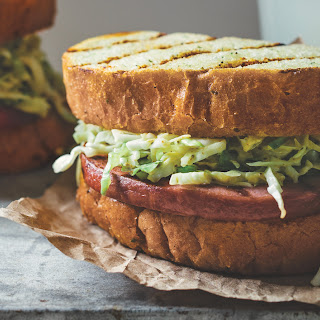 Grilled Smoked Bologna With Yellow Mustard Slaw