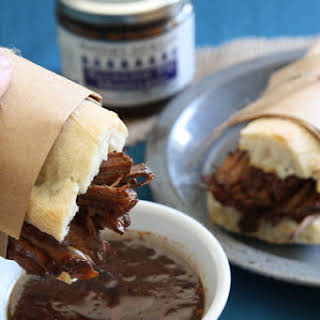 Roast Beef Balsamic Fig French Dip Sandwiches.