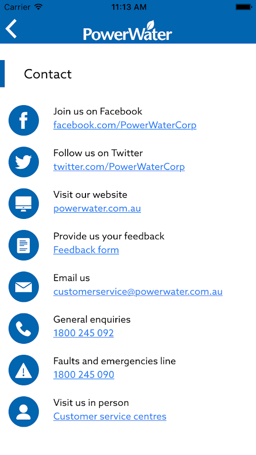 Power and Water Corporation- screenshot