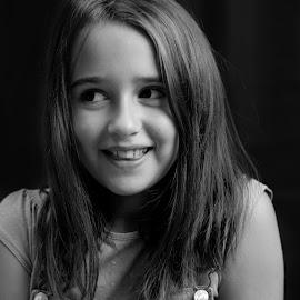 by Joseph Balson - Babies & Children Child Portraits ( studio, black background, style, black and white, portrait, girl, people, child,  )