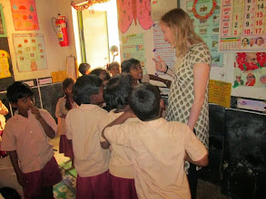 Photo: Nancy interacts with a class at Placepalayam.