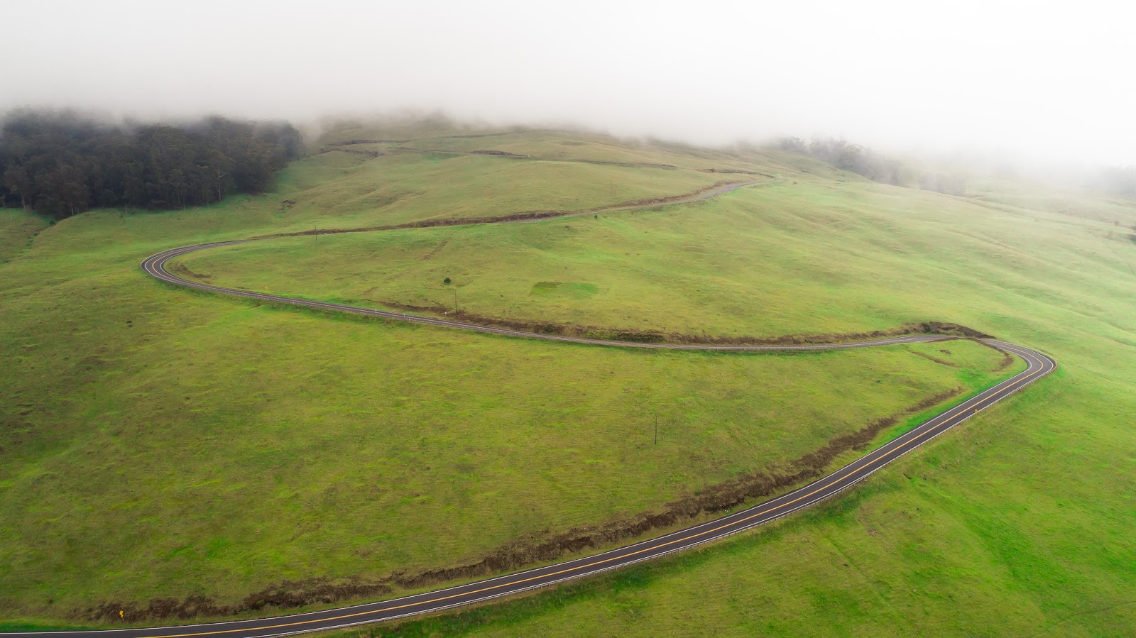 Cycling Haleakala Volcano - aerial drone photo of hairpin curve, green grass and roadway