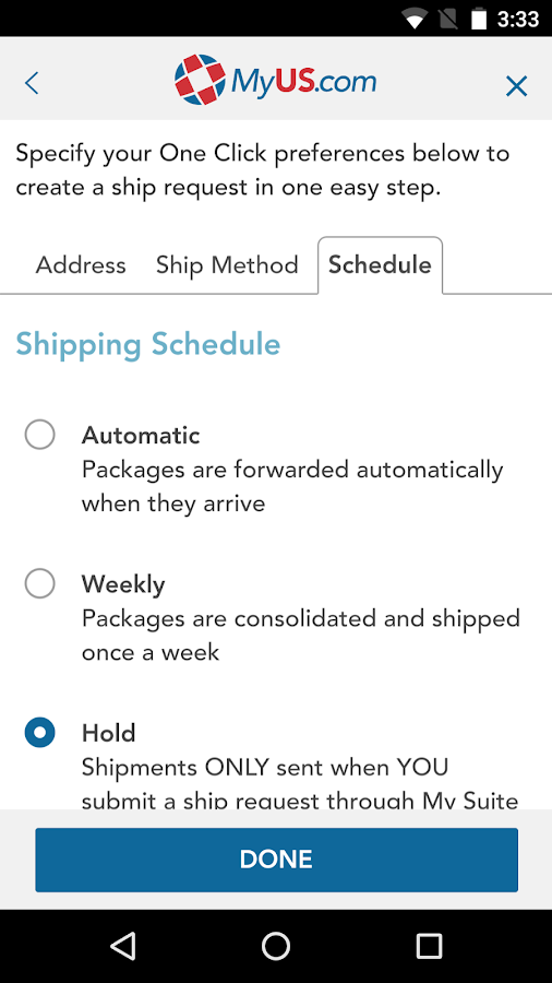 MyUS Global Shipping App- screenshot