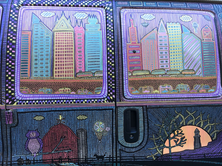 This van was completely decorated with markers. Very cool! Spotted on Duvall Street.
